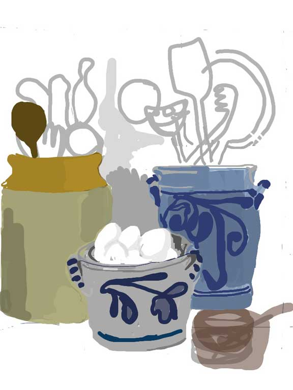 Delft pots and eggs